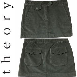 Theory Olive Green Corduroy Mini Skirt Back Pocket